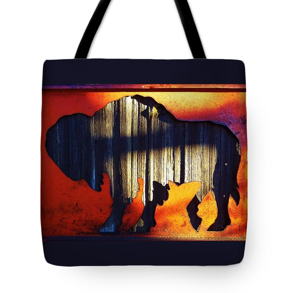 Tote Bag featuring the photograph Wooden Buffalo 4  by Larry Campbell