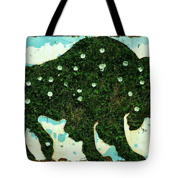 Tote Bag featuring the photograph Buffalo And Flowers by Larry Campbell