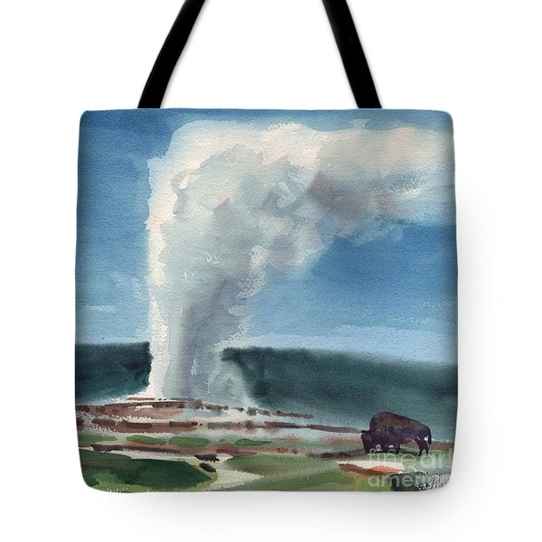 Buffalo And Geyser Tote Bag by Donald Maier