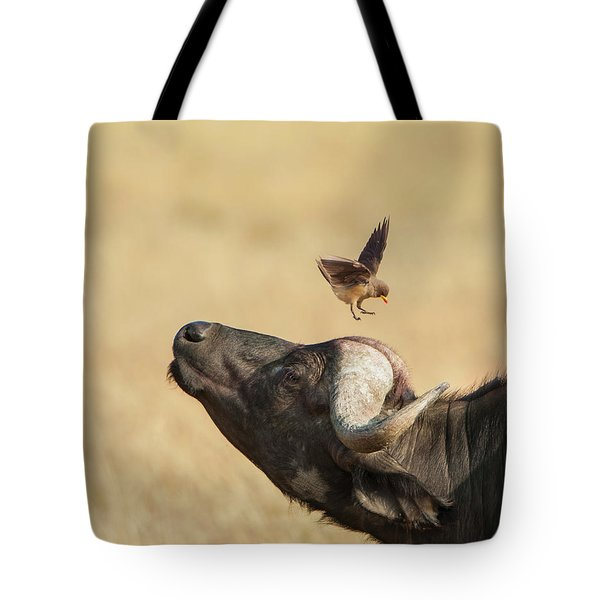 Tote Bag featuring the photograph Buffalo And Oxpecker Bird by Phyllis Peterson