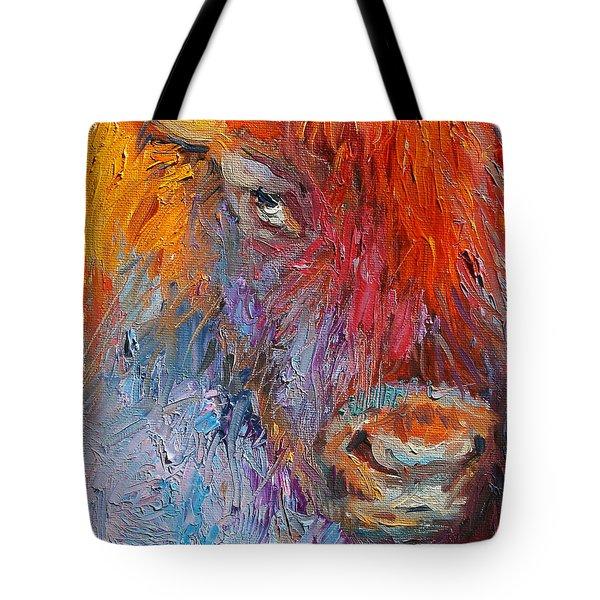 Buffalo Bison Wild Life Oil Painting Print Tote Bag by Svetlana Novikova