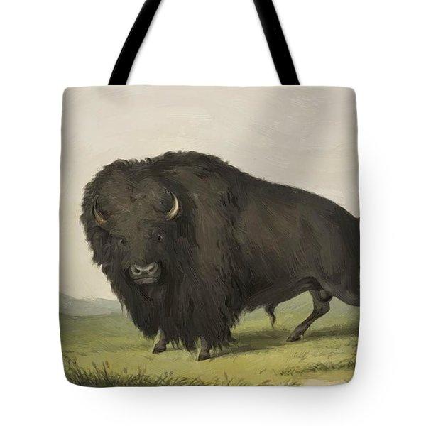 Buffalo Bull Grazing 1845 Tote Bag