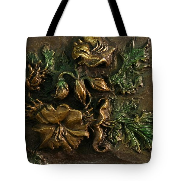 Tote Bag featuring the relief Buffalo Bur Flower From Snowy Range Life by Dawn Senior-Trask