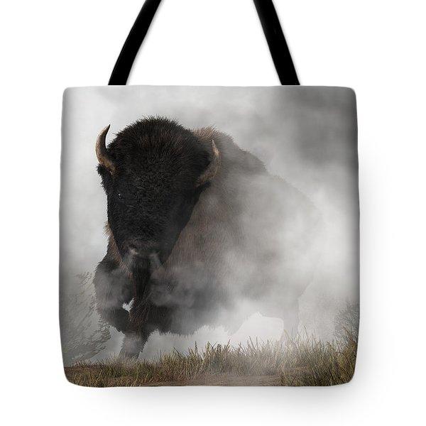 Tote Bag featuring the digital art Buffalo Emerging From The Fog by Daniel Eskridge