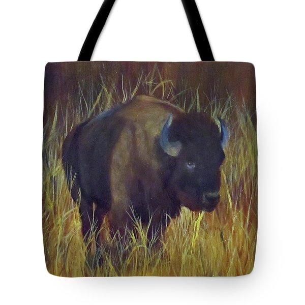 Buffalo Grazing Tote Bag by Roseann Gilmore