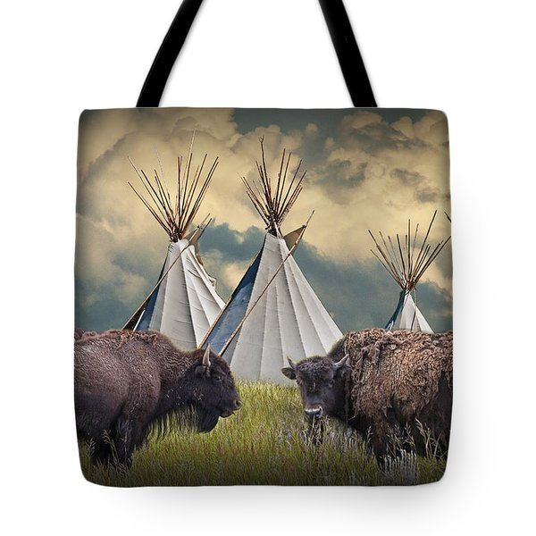 Buffalo Herd On The Reservation Tote Bag