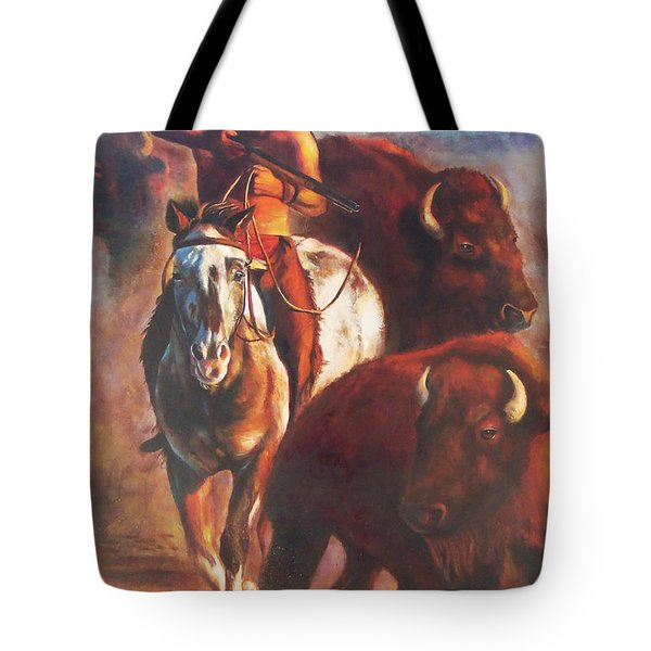 Tote Bag featuring the painting Buffalo Hunt by Karen Kennedy Chatham
