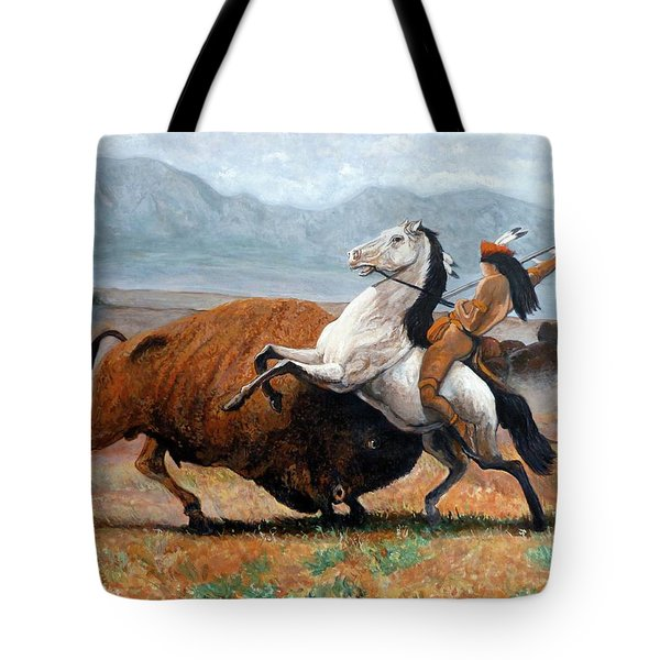 Tote Bag featuring the painting Buffalo Hunt by Tom Roderick