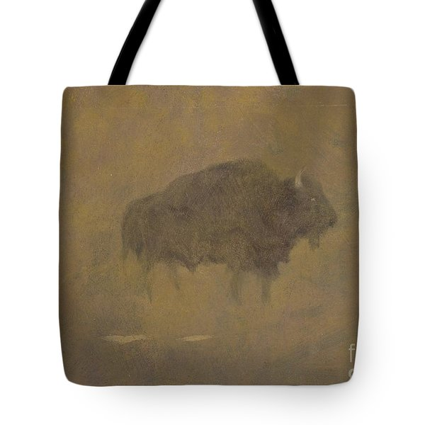 Buffalo In A Sandstorm Tote Bag by Albert Bierstadt
