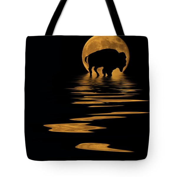 Buffalo In The Moonlight Tote Bag