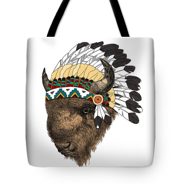 Buffalo With Indian Headdress In Color Tote Bag