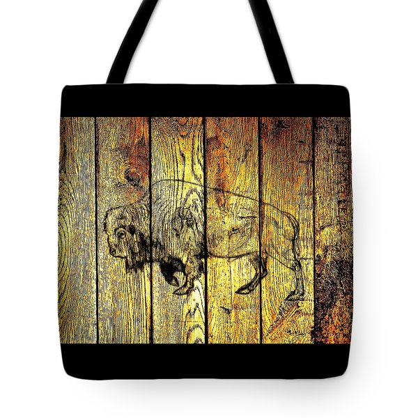 Tote Bag featuring the photograph Buffalo On Barn Wood by Larry Campbell