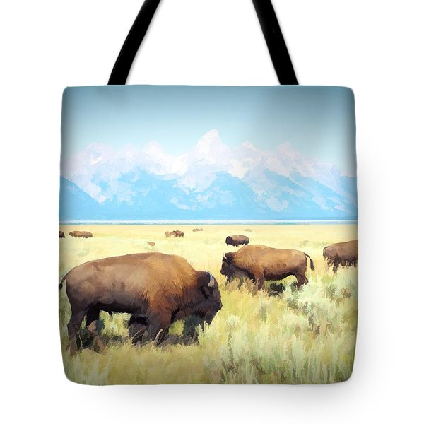 Buffalo Roam, Smokey Grand Tetons, Wyoming Tote Bag