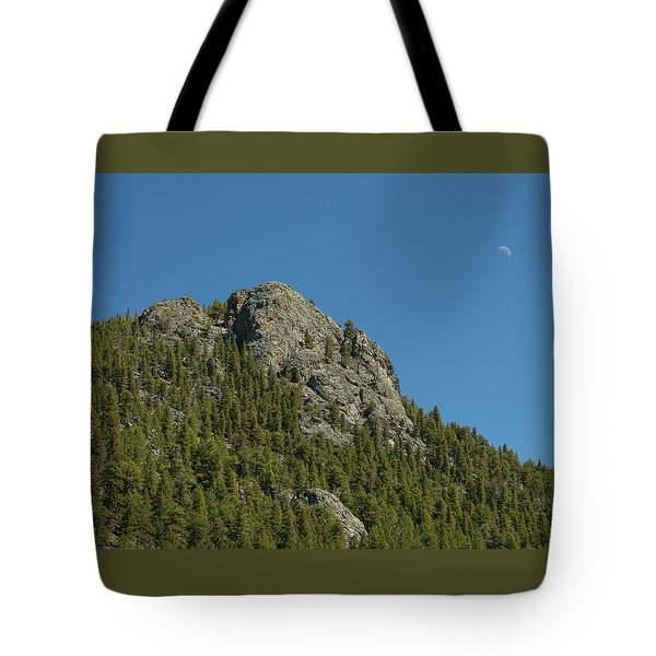Tote Bag featuring the photograph Buffalo Rock With Waxing Crescent Moon by James BO Insogna