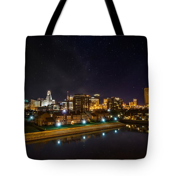 Buffalo Skyline Under The Stars Tote Bag
