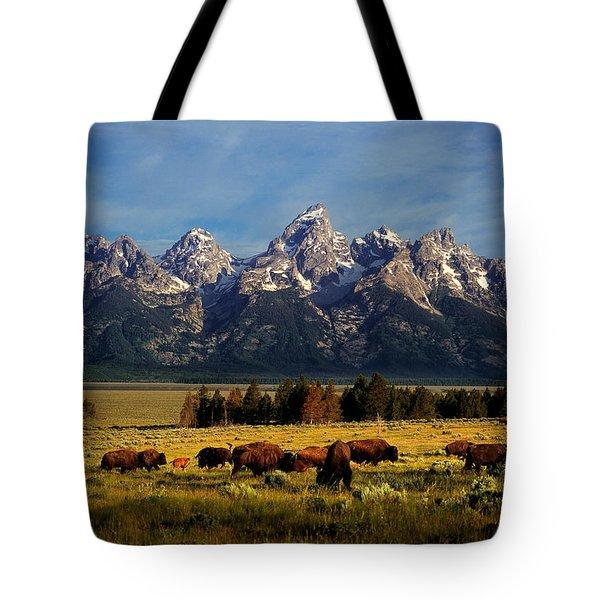 Buffalo Under Tetons Tote Bag