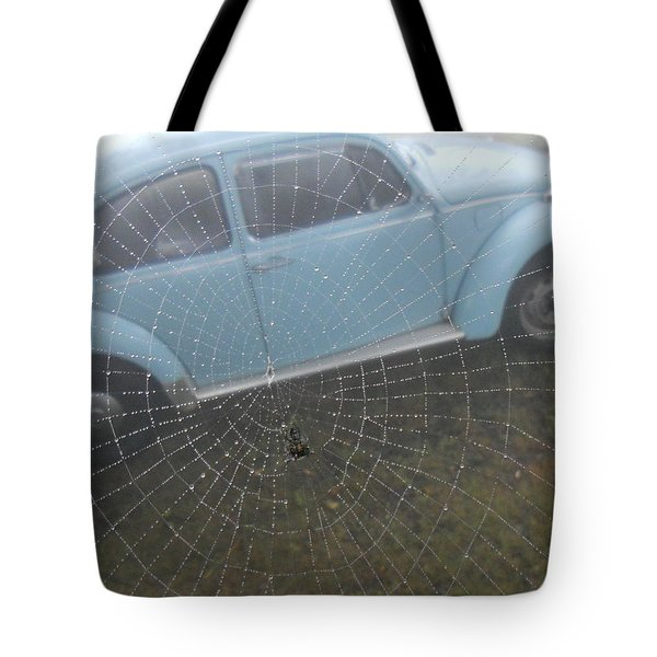 Tote Bag featuring the photograph Bug In A Web by Diannah Lynch