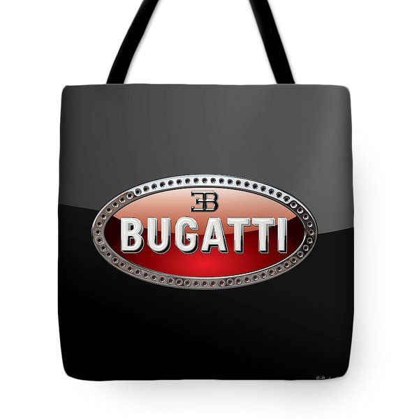 Bugatti - 3d Badge On Black Tote Bag by Serge Averbukh