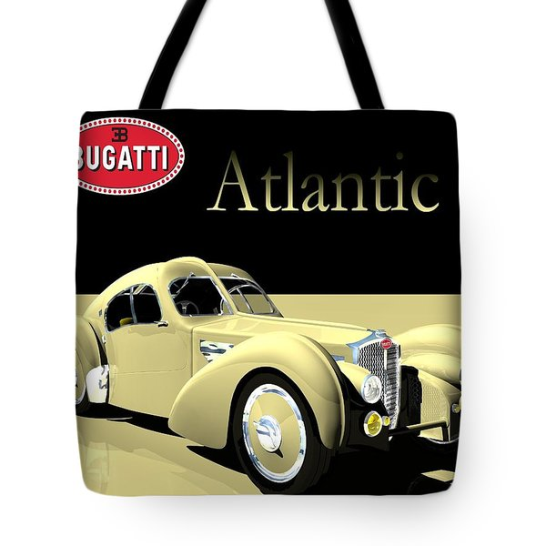 Tote Bag featuring the digital art Bugatti Atlantic by John Pangia