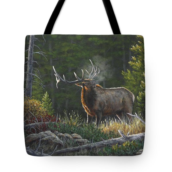 Tote Bag featuring the painting Bugling Bull by Kim Lockman