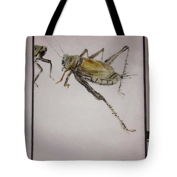Tote Bag featuring the painting Bugs And Blooms Album by Debbi Saccomanno Chan