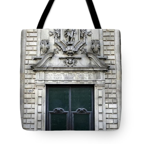 Building Artwork And Old Door In Barcelona Tote Bag