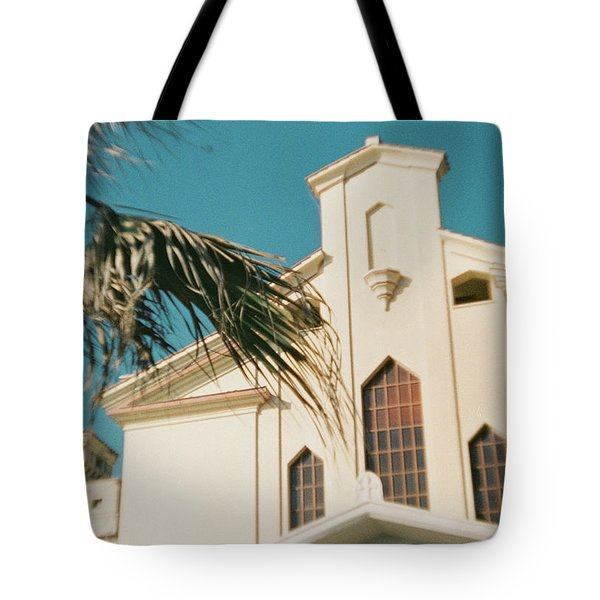 Building Behind Palm Tree In Ostia, Rome Tote Bag