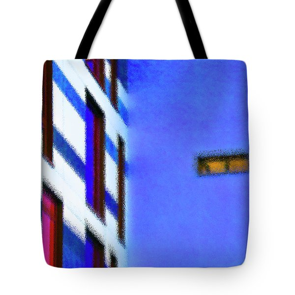Tote Bag featuring the digital art Building Block - Blue by Wendy Wilton