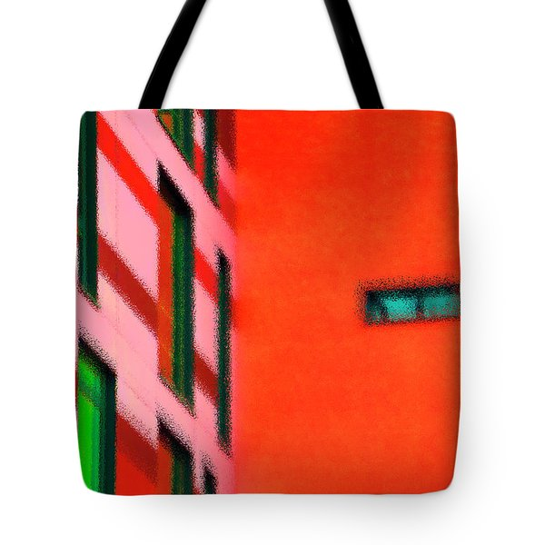 Tote Bag featuring the digital art Building Block - Red by Wendy Wilton