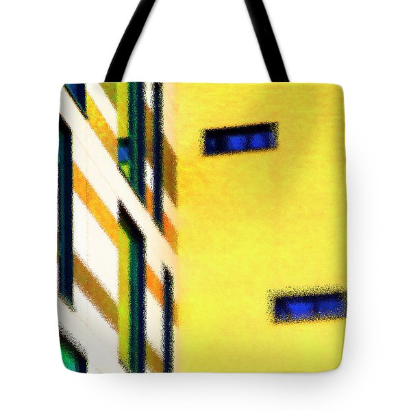 Tote Bag featuring the digital art Building Block - Yellow by Wendy Wilton