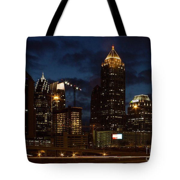 Tote Bag featuring the photograph Building Boom Midtown Atlanta Construction Art by Reid Callaway