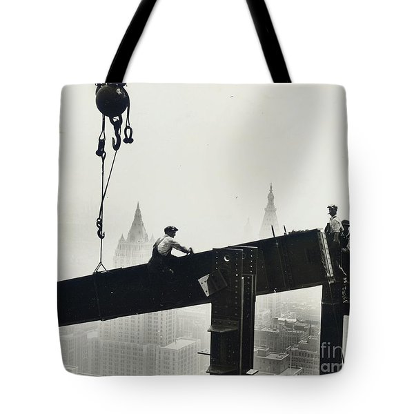 Building The Empire State Building Tote Bag by LW Hine