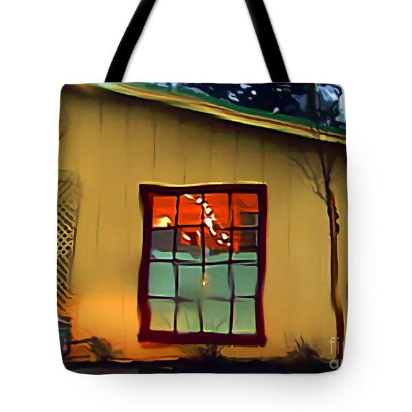 Building Through A Rainy Window Tote Bag by Wernher Krutein