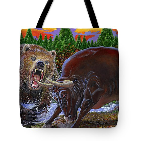 Bull And Bear Tote Bag by Carey Chen