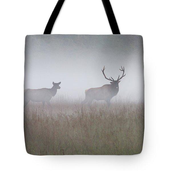 Bull And Cow Elk In Fog - September 30 2016 Tote Bag