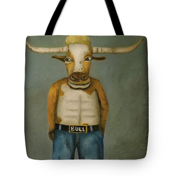 Bull Denim Tote Bag by Leah Saulnier The Painting Maniac