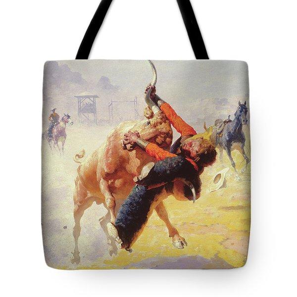 Bull Dodging Tote Bag