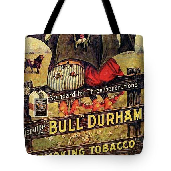Tote Bag featuring the digital art Bull Durham Smoking Tobacco by ReInVintaged