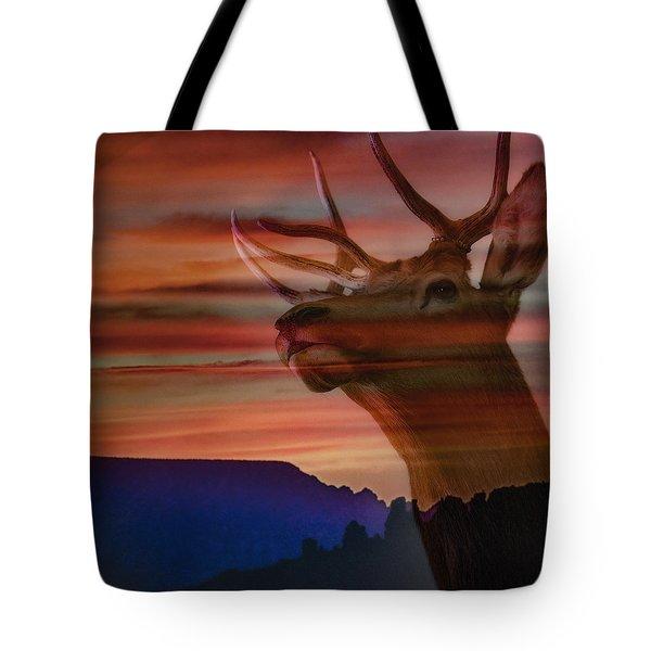 Bull Elk And Sedona Sunset Tote Bag