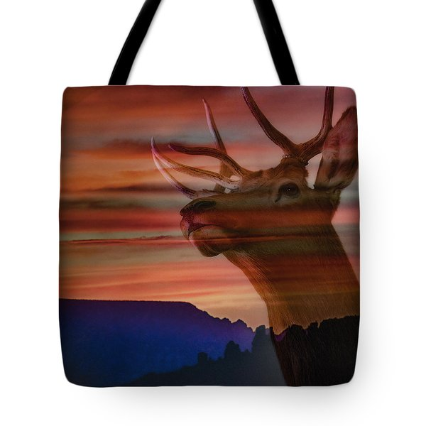 Bull Elk And Sedona Sunset Tote Bag