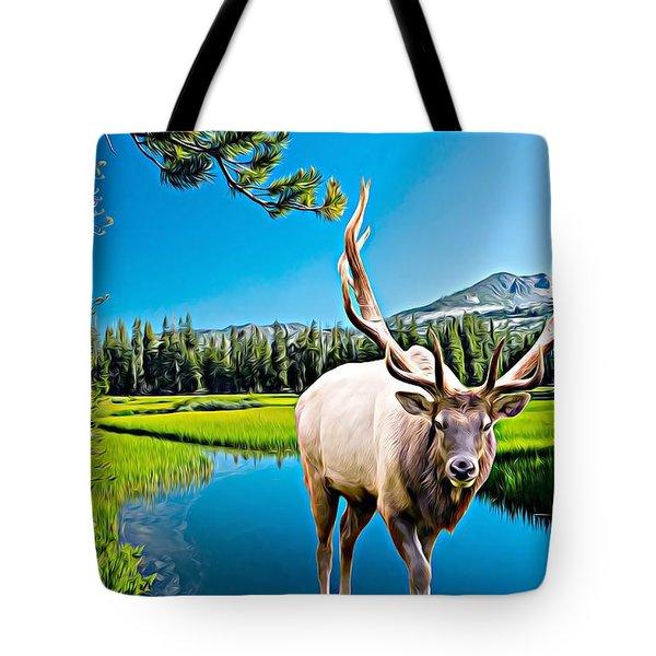 Bull Elk By The Lake Tote Bag