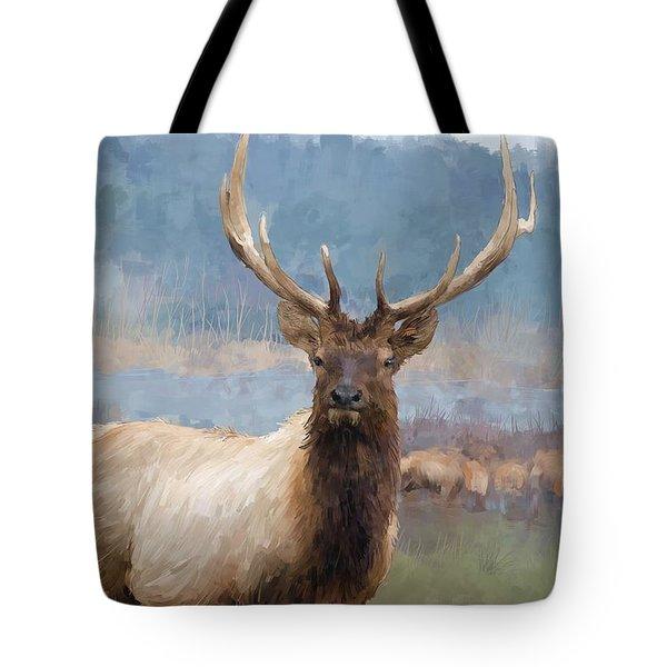 Bull Elk By The River Tote Bag by Debra Baldwin