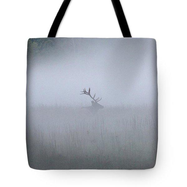 Bull Elk In Fog - September 30, 2016 Tote Bag
