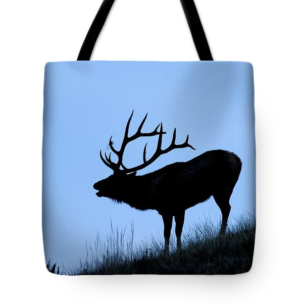 Bull Elk Silhouette Tote Bag by Larry Ricker