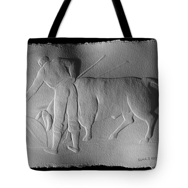 Tote Bag featuring the relief Bull Fighter by Suhas Tavkar