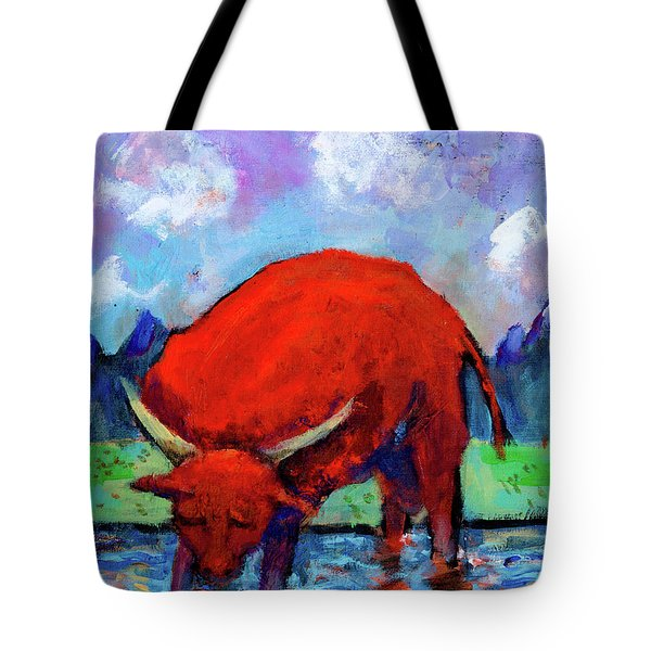 Bull On The River Tote Bag