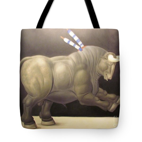 bull painting Botero Tote Bag by Ted Pollard