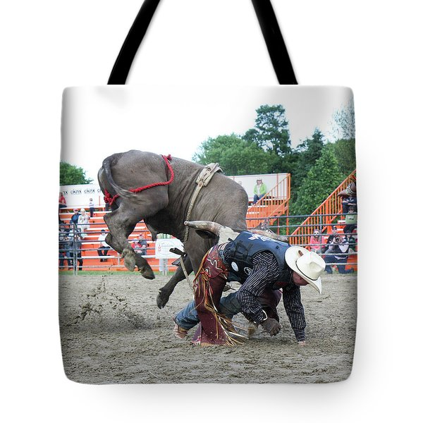 Bull Riding Action Tote Bag