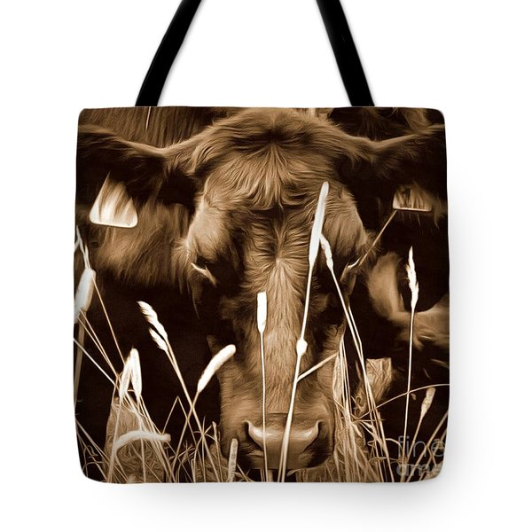 Bull - Sepia Brown Black Angus Tote Bag