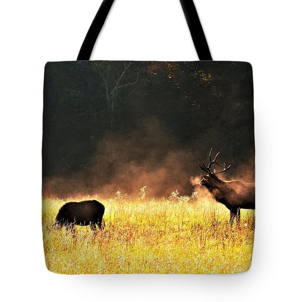 Bull With His Girl Tote Bag